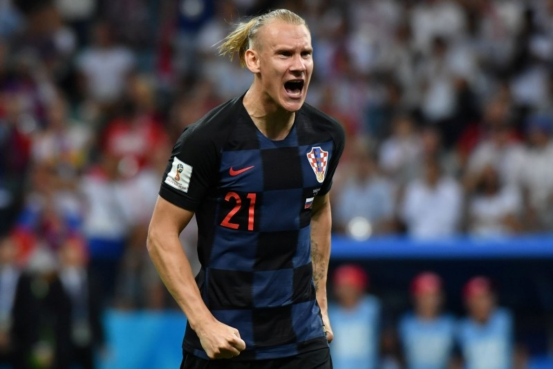 Croatia's Domagoj Vida celebrates after scoring a penalty kick during the quarterfinal match between Russia and Croatia at the 2018 soccer World Cup in the Fisht Stadium, in Sochi, Russia, Saturday, July 7, 2018. (AP Photo)