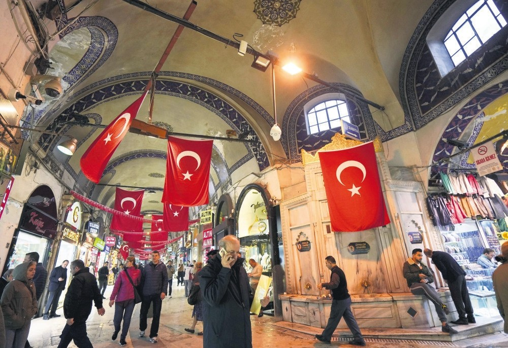 People stroll through the Grand Bazaar, also known as the Covered Bazaar, in Istanbul, Nov. 14.