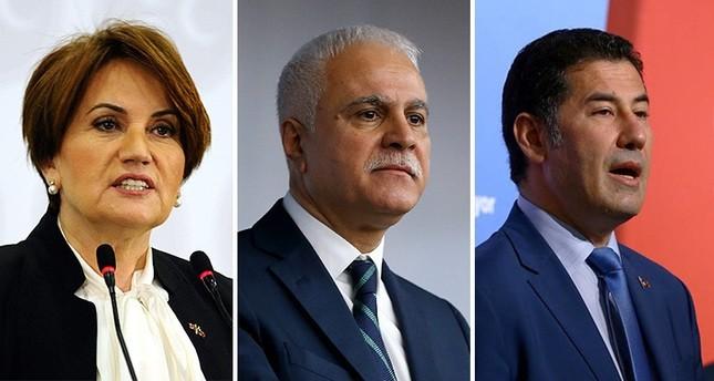 Meral Akşener (L), Koray Aydın (C) and Sinan Oğan