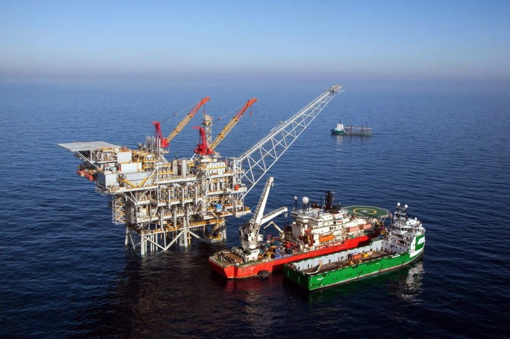 An aeriel view of the Tamar gas field disocevered by Israel about 90 km off the Israeli coast. According to estimates there are more than 200 billion cubic meters of natural gas at the field.