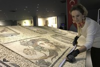 'Gypsy Girl' reproduced with stones from banks of Euphrates