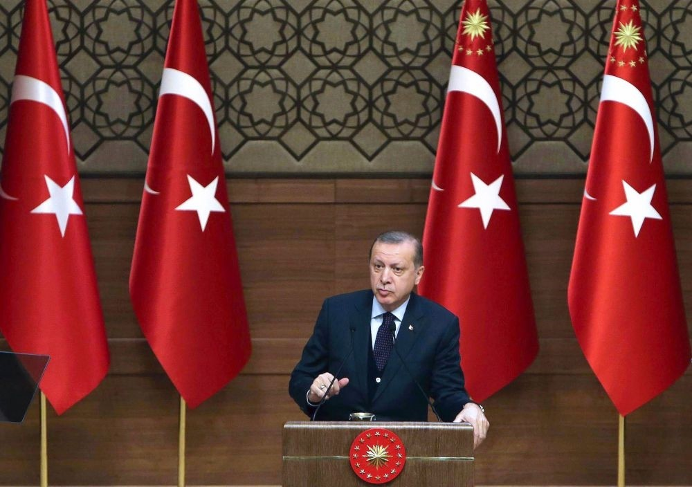 President Recep Tayyip Erdou011fan delivers a speech during a Turkish Anatolian Publishers Association Members meeting at the Presidential Complex in Ankara yesterday.
