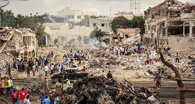 picture taken on October 15, 2017 shows a general view of the scene of the explosion of a truck bomb in the centre of Mogadishu AFP Photo