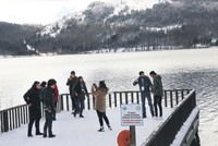 Tourists flock to Turkey's Abant after snowfall