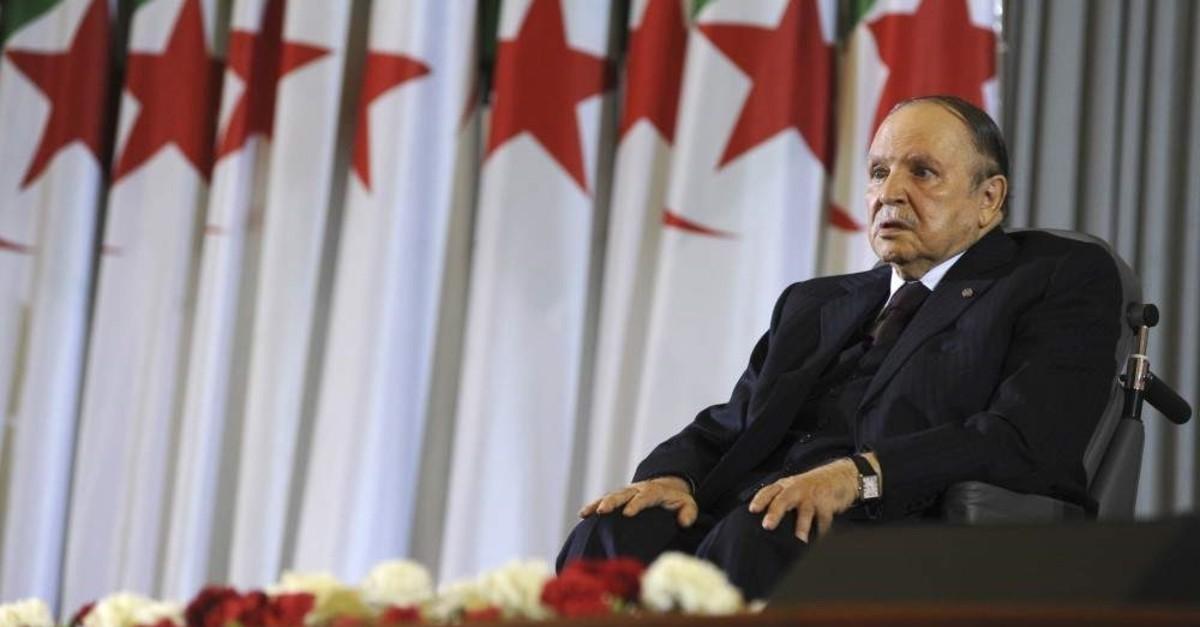 Former Algerian President Abdelaziz Bouteflika sits in a wheelchair after taking the oath as president, Algiers, April 28, 2014. (AP Photo)
