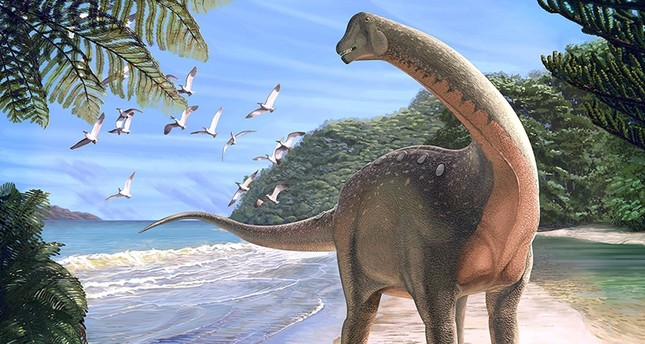 Artist's life reconstruction of the titanosaurian dinosaur Mansourasaurus shahinae on a coastline in what is now the Western Desert of Egypt approximately 80 million years ago is pictured in this undated handout image. (Reuters Photo)