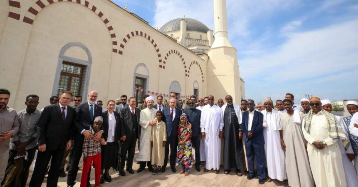 Officials from Turkey and Djibouti attend the opening ceremony of the mosque, Djibouti, Nov. 29, 2019. (?HA Photo)