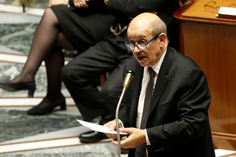 French Foreign Affairs Minister Jean-Yves Le Drian speaks during a session of questions to the government on Nov. 7, 2017 at the National Assembly in Paris. (AFP Photo)