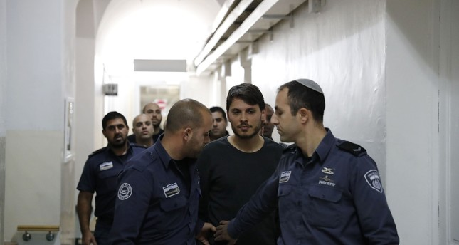 A Turkish citizen, who was arrested along with other two earlier in the week at a holy site in Jerusalem following prayers, is seen at an Israeli court in Jerusalem, on December 23, 2017. (AFP Photo)