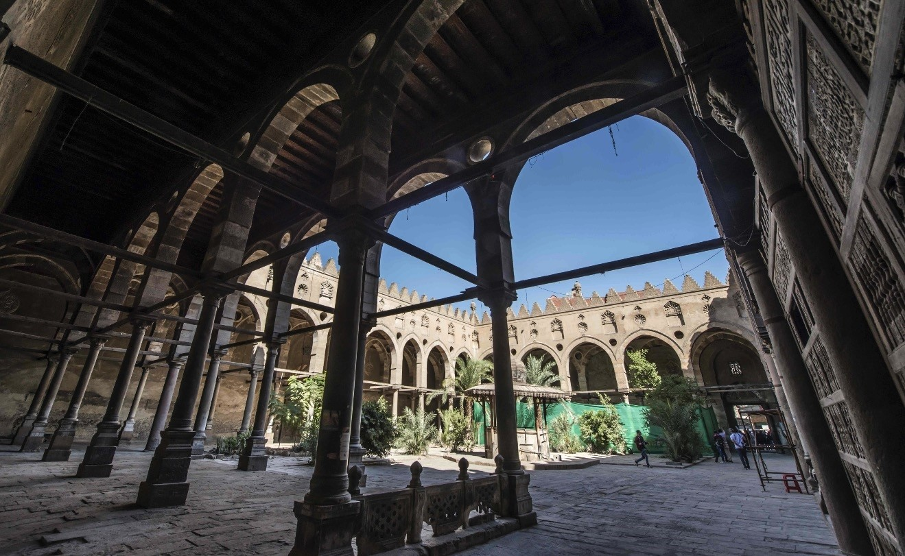 The 14th century Al-Maridani mosque at Al-Darb Al-Ahmar area in the capital Cairo undergoes renovation works.