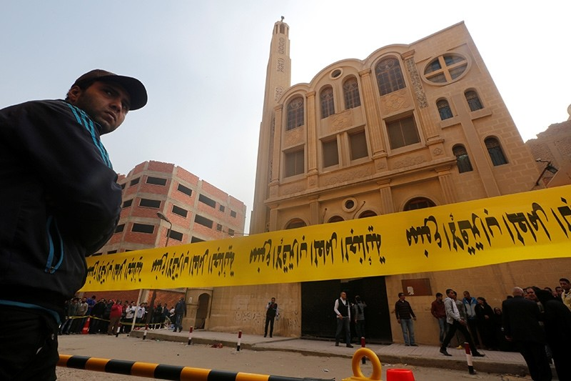 Police tape cordon is seen at the site of attack on a church in the Helwan district south of Cairo, Egypt December 29, 2017 (Reuters Photo)