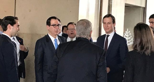 White House senior adviser Jared Kushner and Treasury Secretary Steven Mnuchin arrive at Manama's Four Seasons hotel, the venue for the U.S.-hosted Peace to Prosperity conference, in Manama, Bahrain, June 25, 2019. (REUTERS Photo)