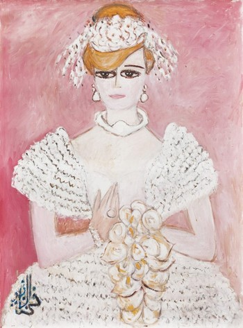 "Fahrelnissa Zeid, ""Circassian Bride,"" ca. 1980 - 1985,  Oil on canvas, 135 x 100 cm."