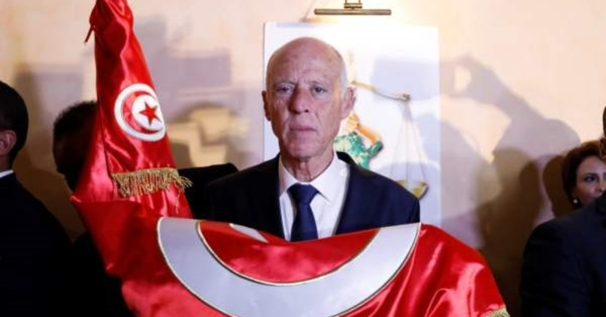 Kais Saied reacts after exit poll results were announced in a second round runoff of the presidential election in Tunis, Oct. 13, 2019. (REUTERS / Photo)