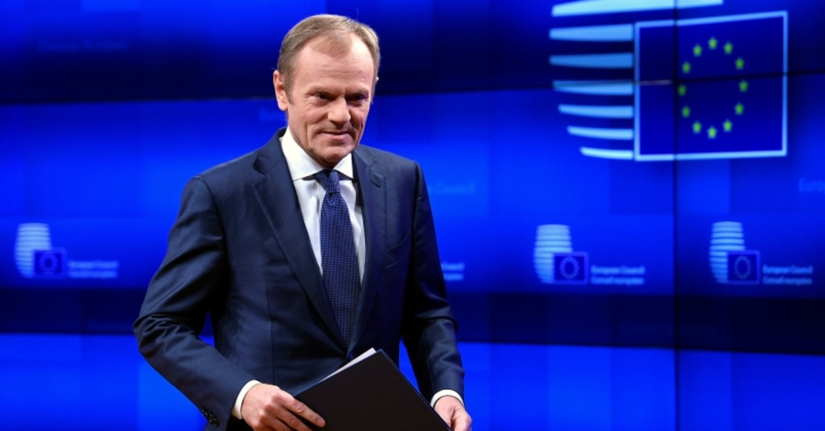 President of the European Council Donald Tusk delivers a statement on Brexit ahead of the EU summit in Brussels, Belgium March 20, 2019. (Reuters Photo)