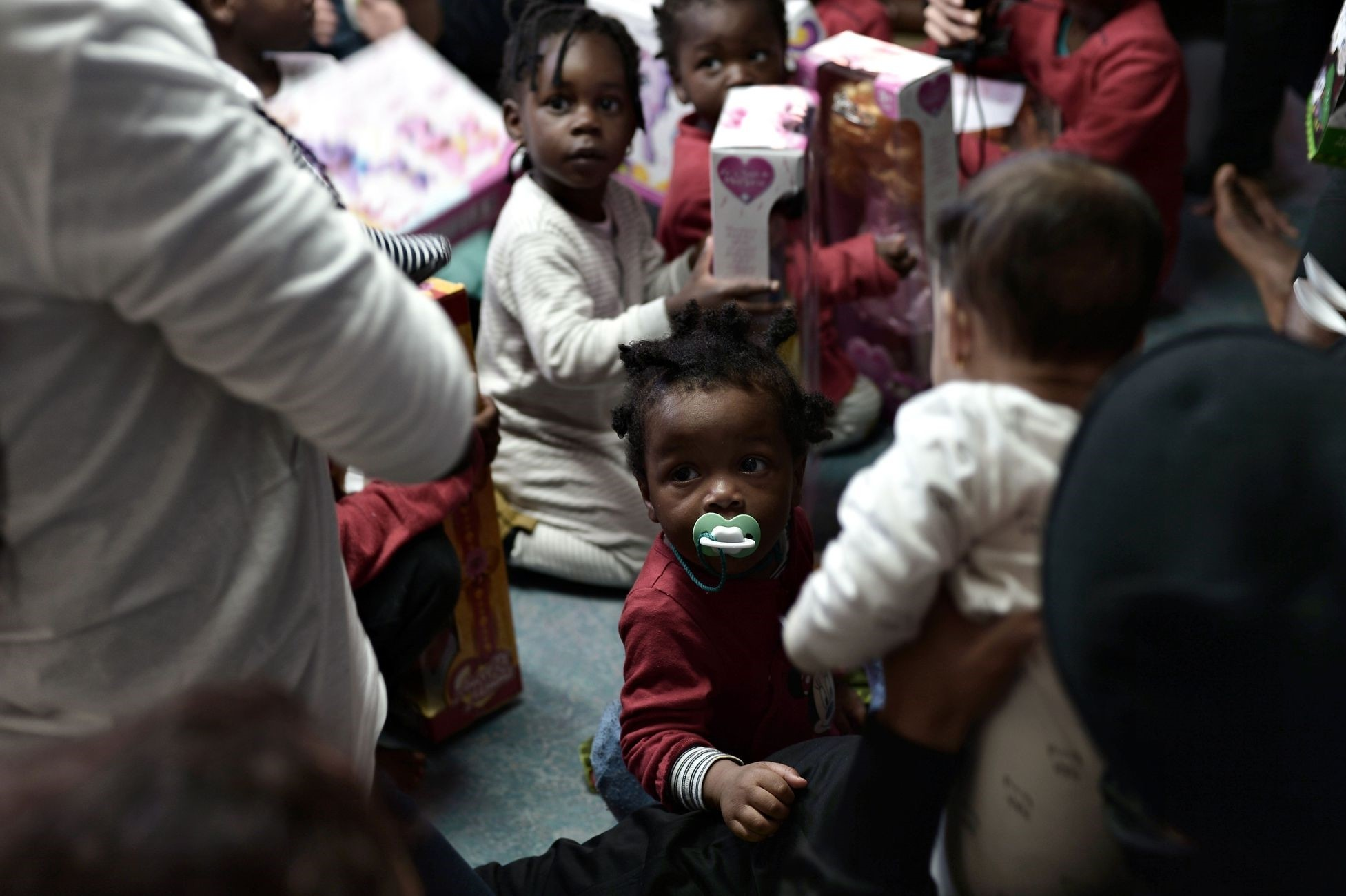 Migrant children onboard the French NGO's Aquarius as the rescue ship is on its way to Spain, June 15.