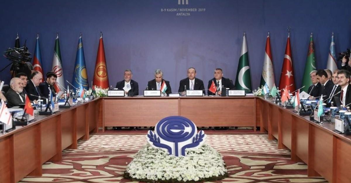 FM u00c7avuu015fou011flu chairs 24th Economic Cooperation Organization (ECO) Council of Ministers Meeting in Antalya on Nov. 9, 2019 (AA Photo)