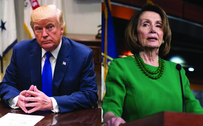 This combo photo shows U.S. President Donald Trump, left, and the Speaker of the House of Representatives Nancy Pelosi. (EPA, AP Photos)