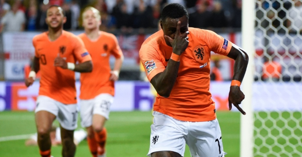 Netherlands' forward Quincy Promes celebrates his team's second goal during the UEFA Nations League semi-final football match between The Netherlands and England at the Afonso Henriques Stadium in Guimaraes on June 6, 2019. (AFP Photo)