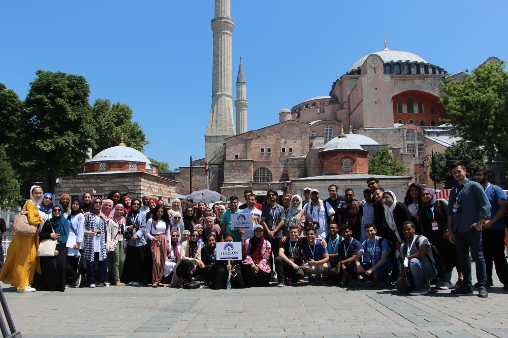 American and Canadian Muslim students seen in front of the Hagia Sofia Museum in Istanbul as part of their sightseeing tours during the TURKEN Youth Brigades Summer Program.