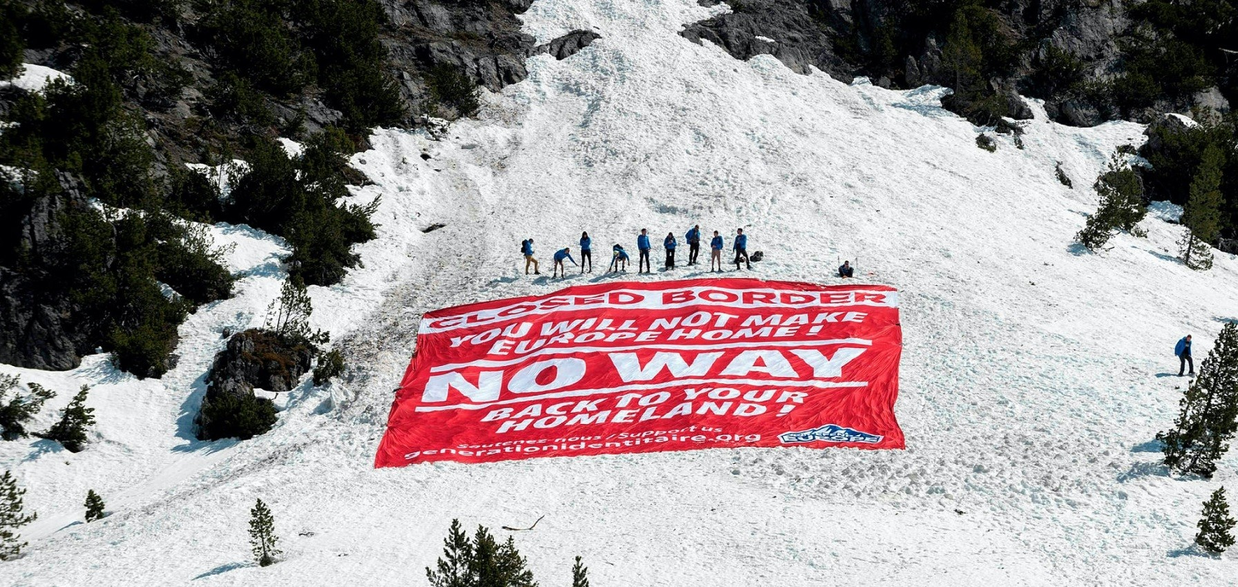 Far-right activists conduct an operation to control access of migrants, Nevache, the French-Italian border, April 21.