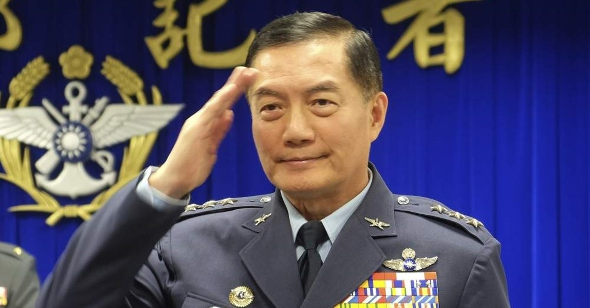 In this March 7, 2019, file photo, Taiwanese top military official Shen Yi-ming salutes as he is introduced to journalists during a press conference in Taipei, Taiwan. (AP Photo)