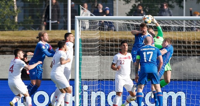 A shot on goal durin gthe UEFA Euro 2020 qualifier Group H football match Iceland against Turkey on June 11, 2019 in Reykjavik. (AA Photo)