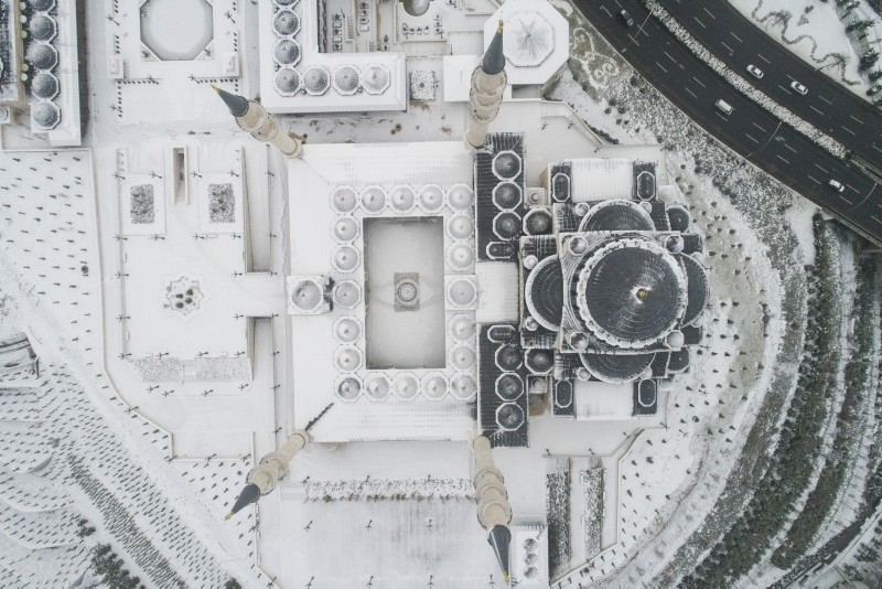 The North Star Mosque and Complex seen from above after snowfall in capital Ankara on Jan. 2, 2019. (AA Photo)