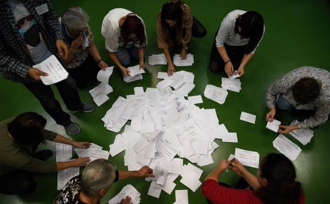 Electoral helpers count votes of the second round of municipal elections, in Przemysl, Poland, Nov. 04, 2018. (EPA Photo)