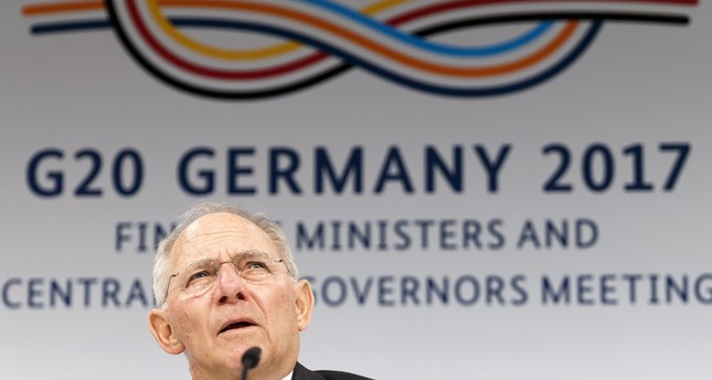 German Finance Minister Wolfgang Schaeuble speaks during a press conference during the G20 Finance Ministers and Bank Governors meeting in Baden Baden.
