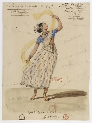 """Hippolyte Lecomte (1781–1857), sketch for a costume for """"Le Dieu et la Bayadère."""""""