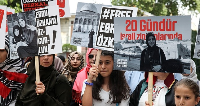 Demonstrators gather in Istanbul's Taksim Square to show support for Ebru Özkan, a Turkish national who was detained in Israel on June 11. AA Photo