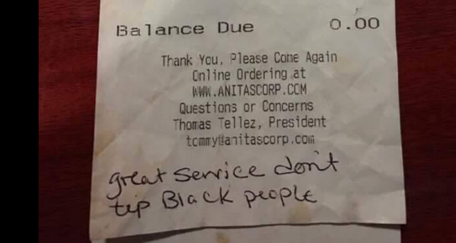 'Don't tip black people': Virginia waitress finds racist note on customer receipt
