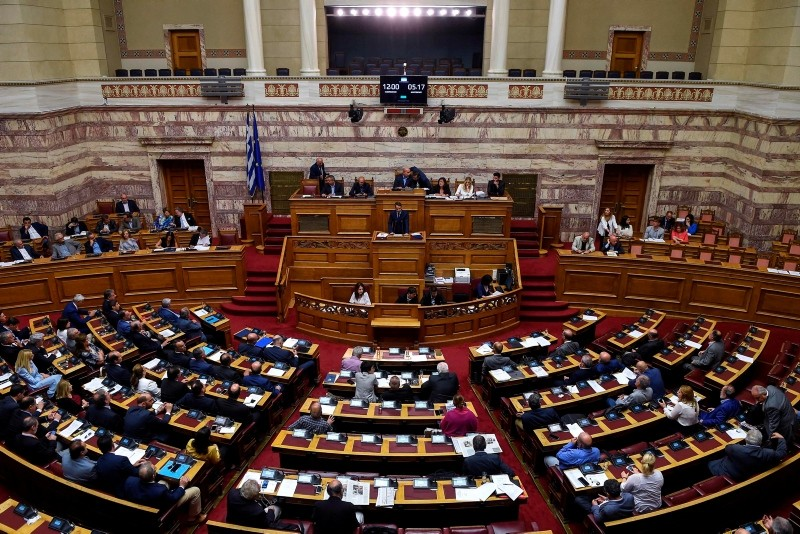 Leader of Greek main opposition New Democracy party Kyriakos Mitsotakis speaks during a parliamentary session in Athens on June 14, 2018. (AFP Photo)