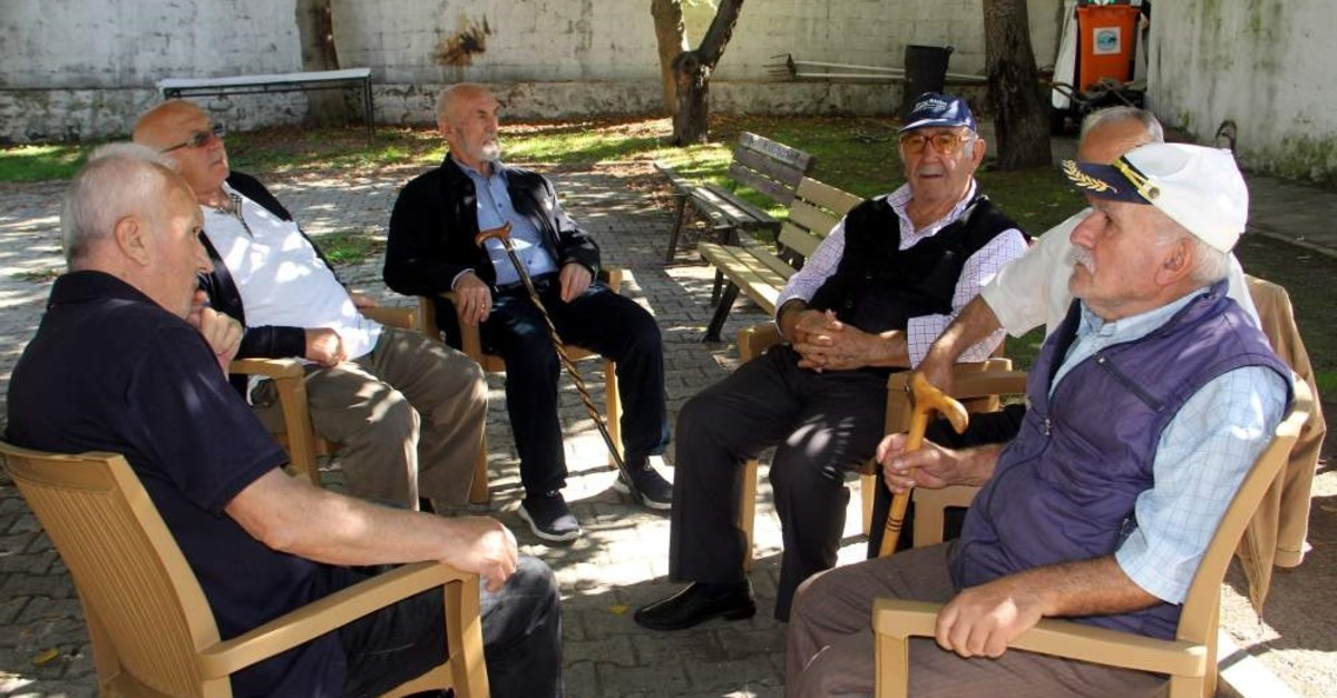 Senior citizens sitting in a park in Sinop, the city with highest proportion of elderly citizens.