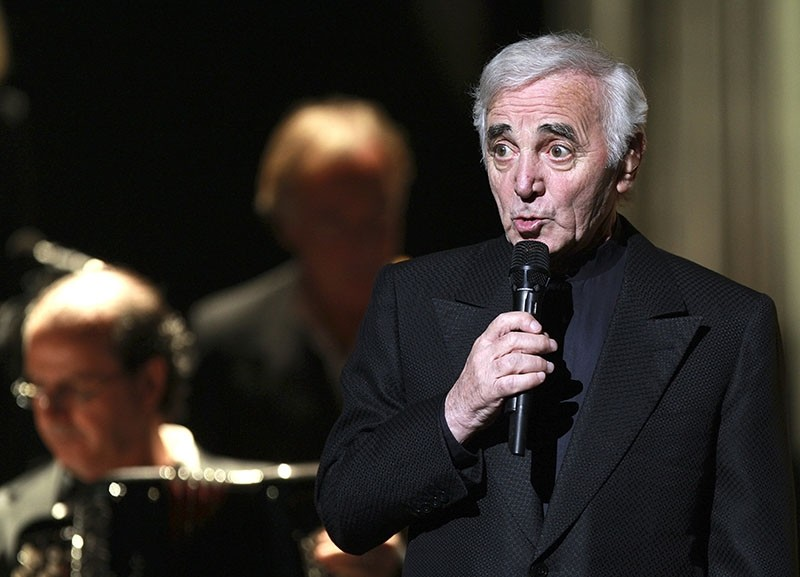 In this Dec.17, 2007 file photo, Charles Aznavour, a French singer of Armenian origin, performs during a concert in Marseille, southern France. (AP Photo)