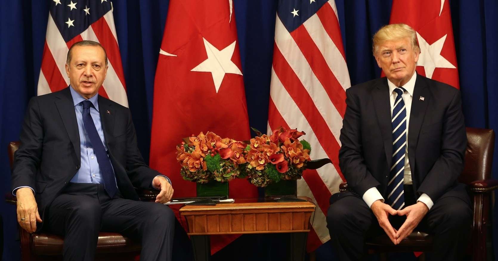 President Erdou011fan and U.S. President Trump during a news conference on Turkish-U.S. bilateral ties, at the White House, Sept. 21, 2017.