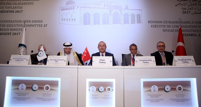 Çavuşoğlu (C) speaks at the Extraordinary Meeting of the OIC Executive Committee  at the level of Foreign Ministers at Istanbul's Swiss Hotel in August, 2017. (AA Photo)