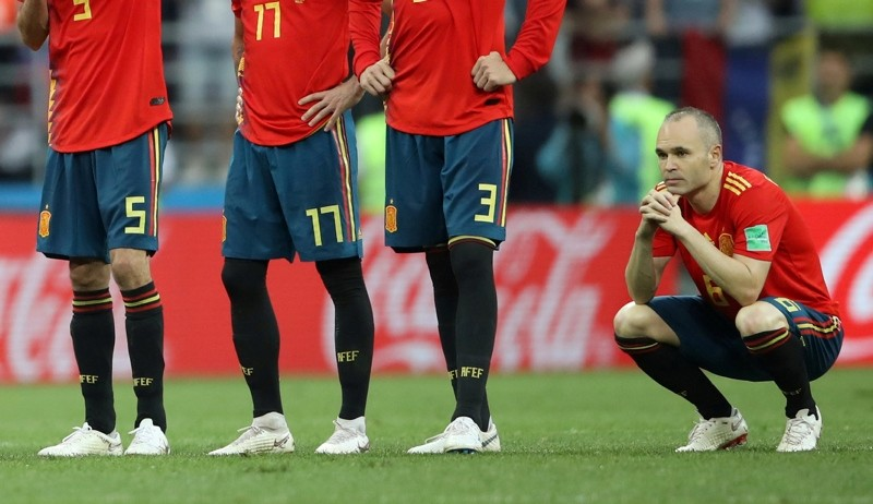 Spain's Andres Iniesta looks dejected after losing the penalty shootout. (REUTERS Photo)