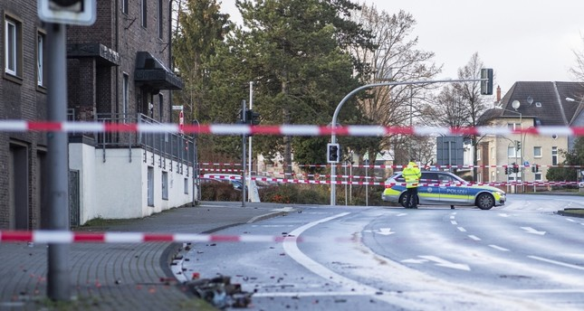 German police blocks a road after racially-motivated car attack, Bottrop, Jan. 1.