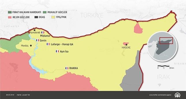 إنفوجرافيك نشرته وكالة الأناضول لمواقع انتشار القوات الفرنسية في مناطق ب ي د