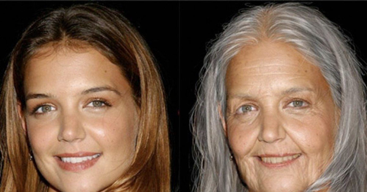 American Actress Katie Holmes is one of the celebrities whose photo is aged with FaceApp.