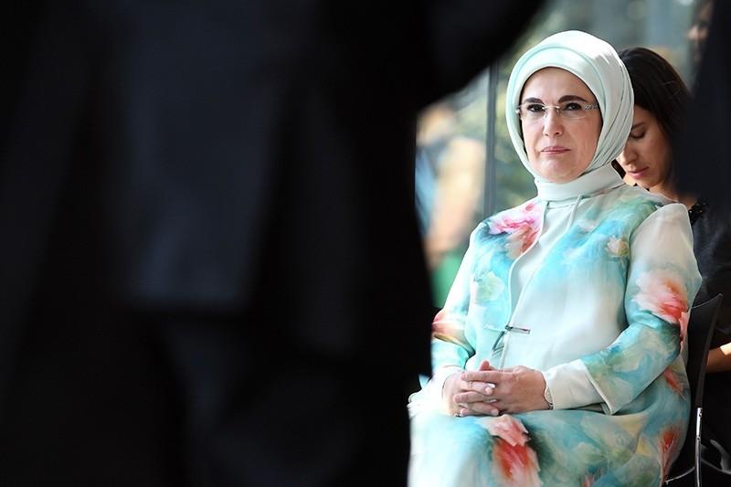 Erdoğan looks on during the spouses program.