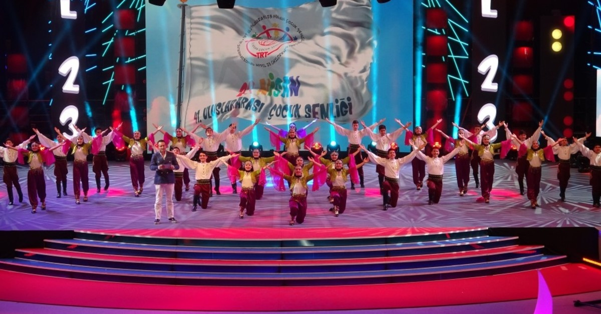 Children perform at a festival for Childrenu2019s Day in the northern city of Samsun, where children from around the world visit on the occasion, April 20, 2019.