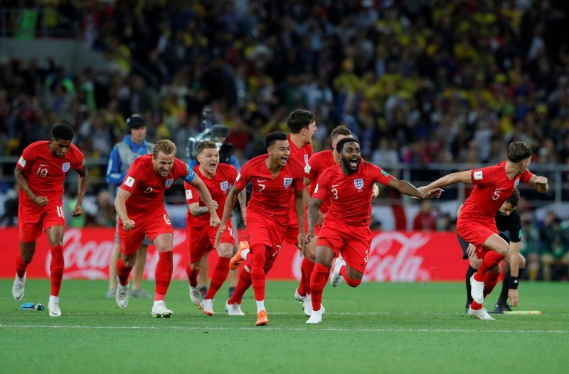 England's players celebrate after defeated Colombia in a penalty shoot out during the round of 16 match between Colombia and England at the 2018 soccer World Cup in the Spartak Stadium, in Moscow, Russia, Tuesday, July 3, 2018. (AP Photo)