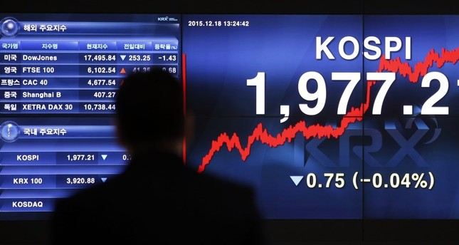 A man looks at an electronic screen showing the Korea Composıte Stock Price Index (kospı) and foreign stock price index in Seoul. (AP Photo)
