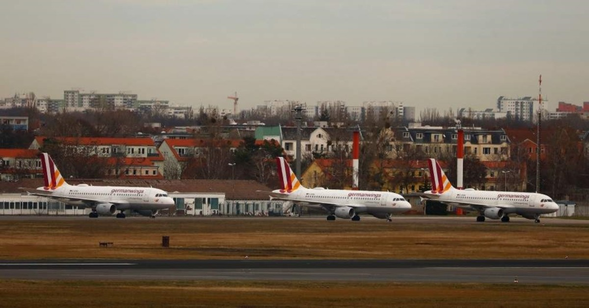 Airplanes wait on the tarmac during a strike of cabin crew employees of German airline Germanwings called by German cabin crew union UFO at Tegel Airport, Berlin, Germany, Dec. 30, 2019. (Reuters Photo)