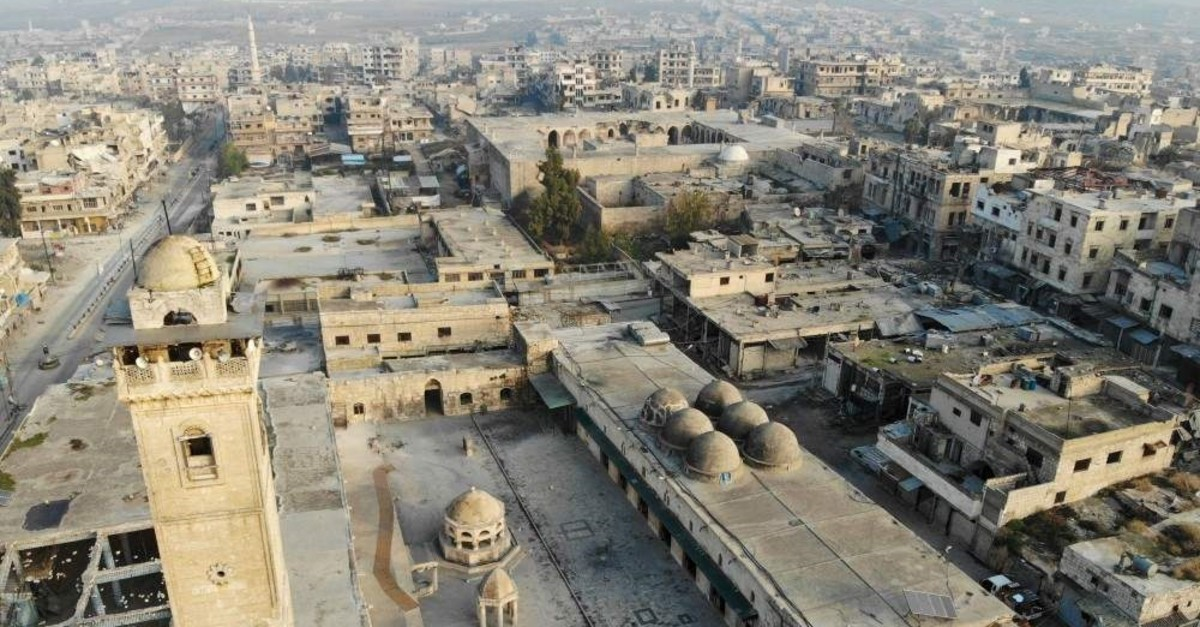 A drone picture shows the empty streets and damaged buildings in the town of Maaret Al-Numan in the northwestern Idlib province, Dec. 23, 2019 (AFP)
