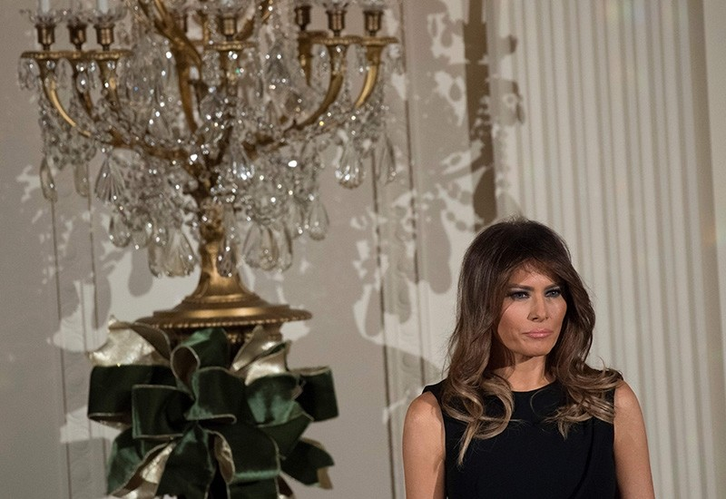 First Lady Melania Trump attends a Hanukkah reception in the East Room of the White House in Washington, DC, December 7, 2017. (AFP Photo)