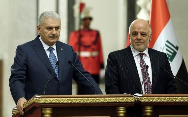 PM Yu0131ldu0131ru0131m (L) and Iraqi counterpart Abadi
